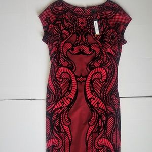 Worthington Red Black Cocktail Dress Size 14 New